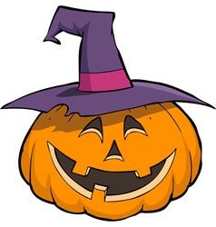 smiling pumpkin in hat vector image vector image