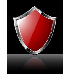 steel shield isolated on black vector image vector image
