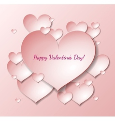 Valentines Day card with paper heart notes vector image