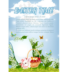 easter paschal bunny and eggs basket poster vector image vector image