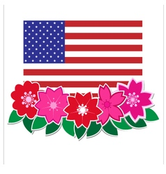 Flag American with flower vector image vector image