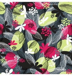 Floral seamless pattern on black background vector image