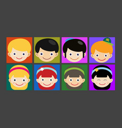 girl portrait fun happy boy head expression cute vector image