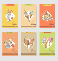 ice cream and desserts hand drawn cards brochure vector image