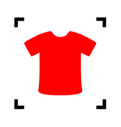 t-shirt sign red icon inside black focus vector image vector image