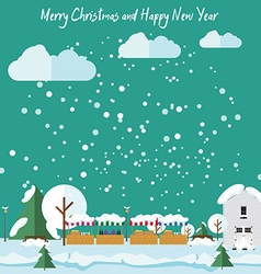 Winter in the city it is snowing Christmas Fair vector image