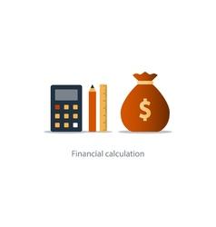 Budget money count financial calculator pencil and vector