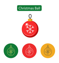 christmas ball isolated minimal icon vector image vector image