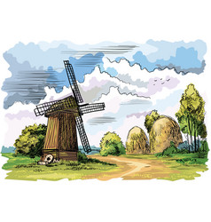 colorful landscape with a windmill vector image vector image