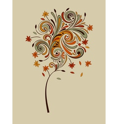 highly detailed autumn tree vector image