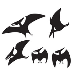 set of pterodactyl silhouette vector image vector image