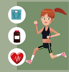 Sport girl exercise healthy icons vector