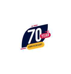 70 years anniversary blue yellow template design vector