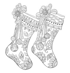Christmas Stocking Coloring Page Vector Images Over 140