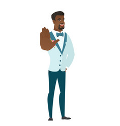 african-american groom showing palm hand vector image