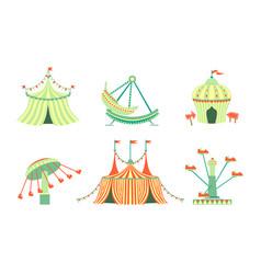 amusement park icons set carnival festival vector image