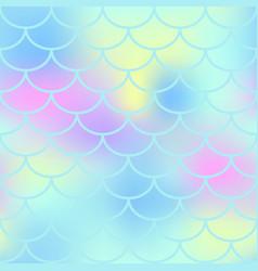 Aqua fish scale seamless pattern magic vector