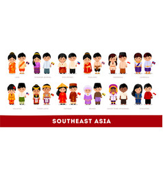 Asians in national clothes southeast asia set of vector