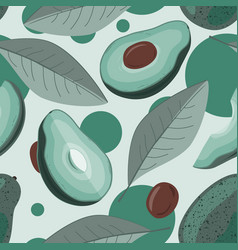 Avocado half and leaves background vector
