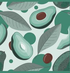 avocado half avocado and leaves background vector image