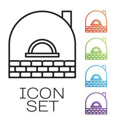 Black line brick stove icon isolated on white vector