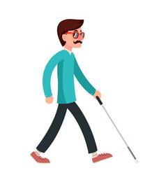 blind man stick disabled confident gait walking vector image