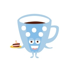 Blue Coffee Cup With Piece Of Cake Children vector image