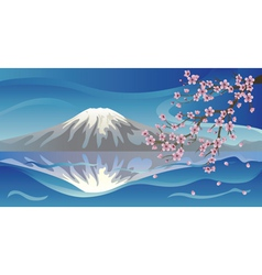 Branch of Sakura and Volcano vector image