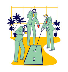 businessmen characters playing mini golf in office vector image