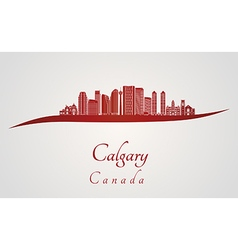 Calgary V2 skyline in red vector
