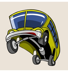 Cartoon character cheerful yellow bus reared vector
