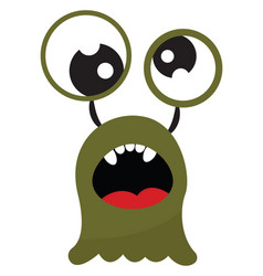 Cartoon funny green monster with an open mouth vector