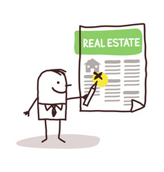 Cartoon man looking for a house in a real estate vector