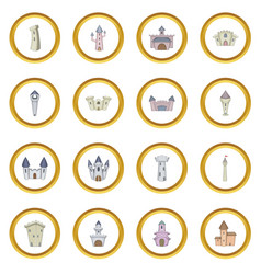 castle tower icons circle vector image