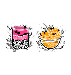 Chia pudding with granola in doodle style on white vector
