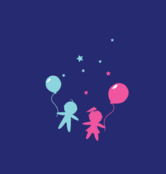 children boy and girl holding hands with balloons vector image