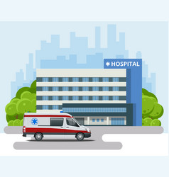 city hospital building with ambulance health vector image
