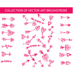 collection of art brushstroke in the shape vector image