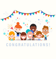 Congratulations cute celebration banner with vector