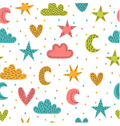 Cute childish seamless pattern with hand drawn vector