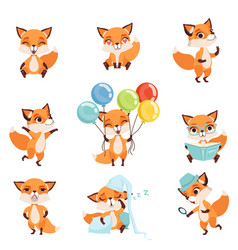 Cute red foxes showing various emotions and vector