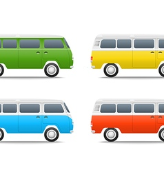 Different color cars Retro bus set vector image