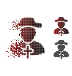 dissolved dot halftone christian priest icon vector image