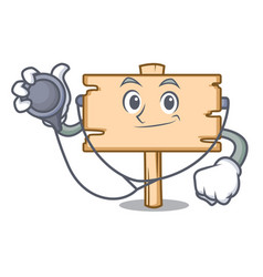 doctor wooden board character cartoon vector image