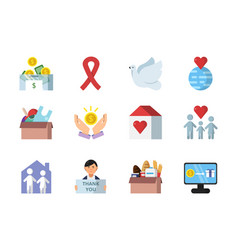 Donation gifts and other different symbols of vector