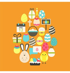 Easter Flat Icons Set Egg shaped over orange vector image