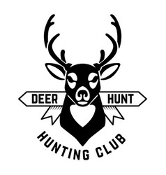 emblem template hunting emblem with deer head vector image
