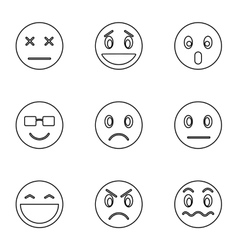 Emoticons for chatting icons set outline style vector