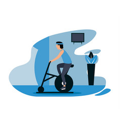 exercise at home during pandemic flat deisgns vector image
