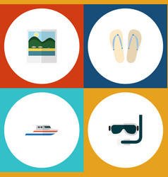 flat icon summer set of boat beach sandals vector image